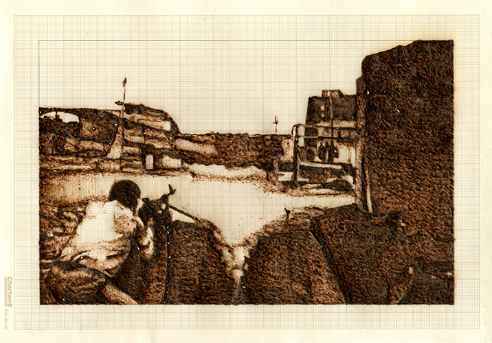 Fire and Forget, graphite and burned graph paper, 21cm x 9.71cm, 2014