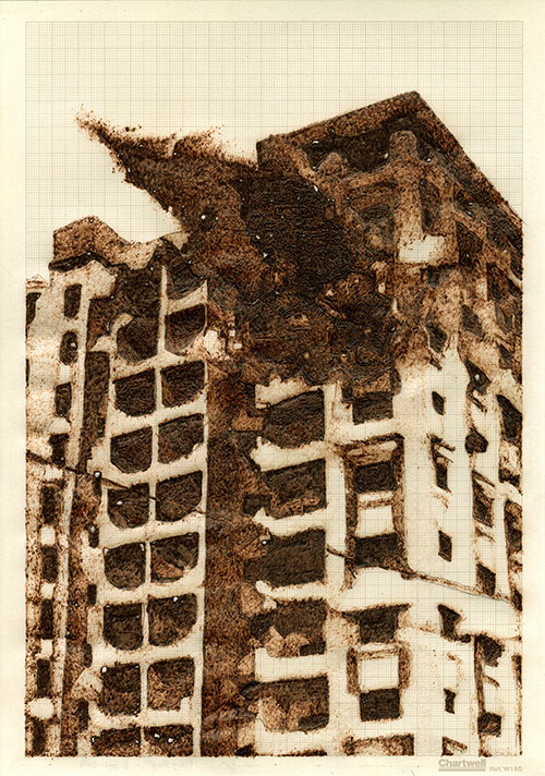 Fire and Forget, graphite and burned graph paper, 29.7cm x 21cm , 2014