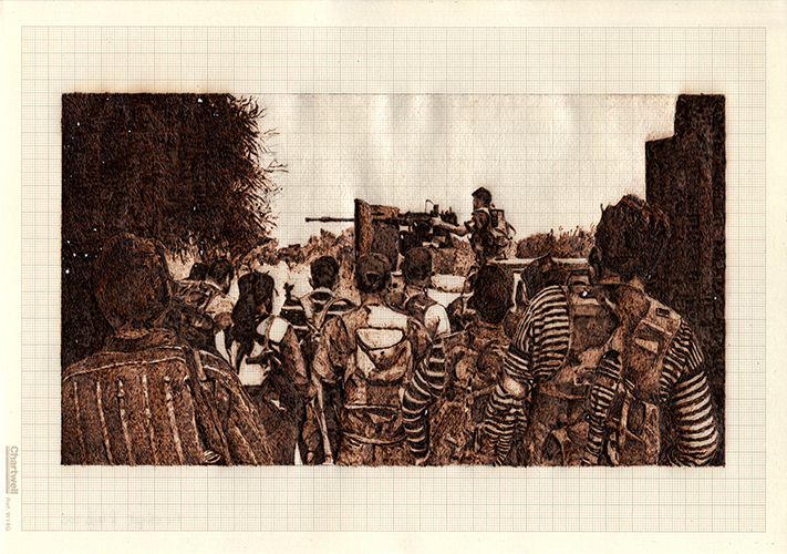 Fire and Forget, graphite and burned graph paper,21cm x 29.7cm, 2014