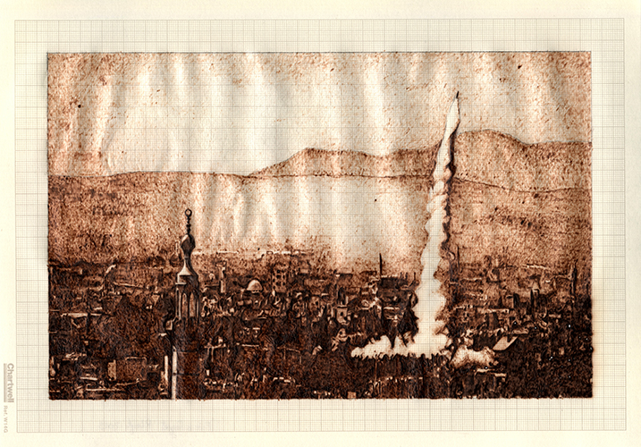 Fire and Forget, graphite and burned graph paper,21cm x 29.7cm, 2014 Fire and Forget, graphite and burned graph paper,21cm x 29.7cm, 2014