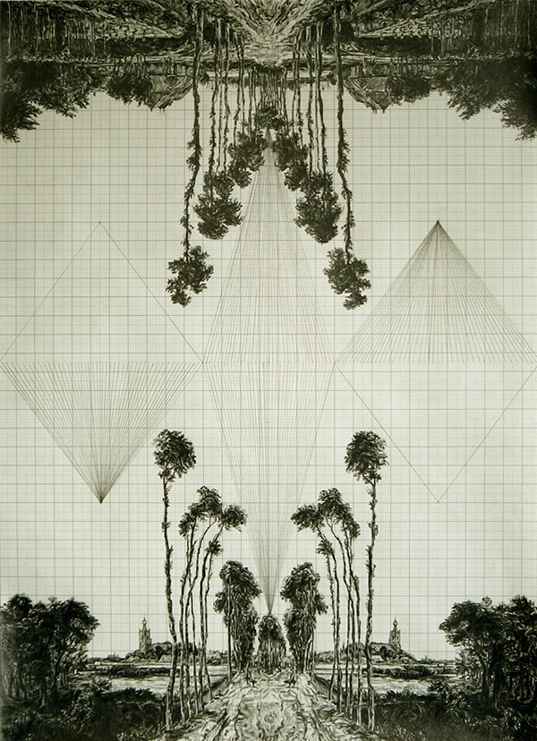 Fruit of the Pleroma (after Hobbema), graphite on graph paper, 39.9cm x 28.8cm, 2011
