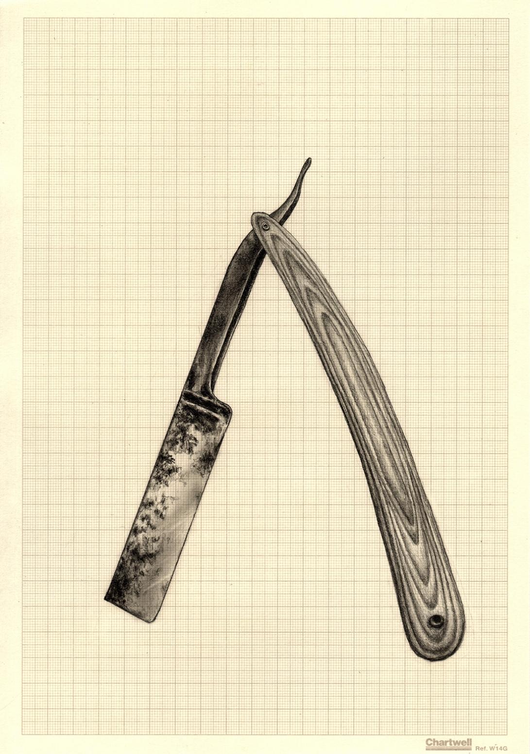 Occam's Rusty Razor, graphite on graph paper, 29.7cm x 21cm, 2015