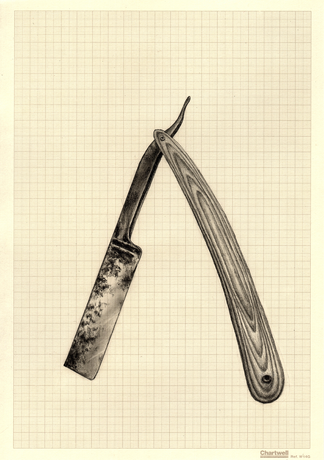 Occam's Rusty Razor, graphite on graph paper, 29.7cm x 21cm, 2015