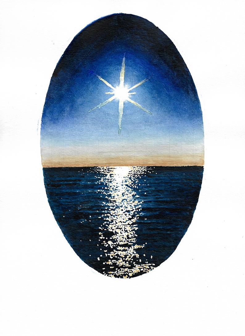 The Philosophic Egg, watercolour on paper, 28cm x 21cm, 2017