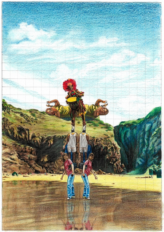 Totem with Tourists and Drummer, graphite and colour pencil on paper, 29.7cm x 21cm, 2017