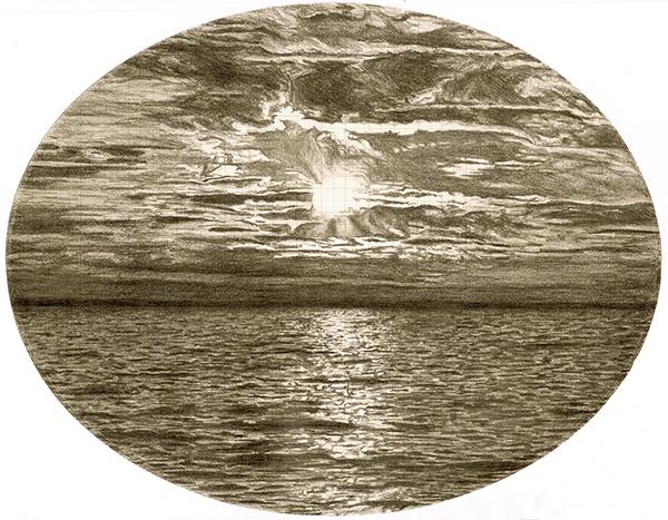 Walk on Water, graphite on graph paper, 21cm x 27cm, 2010