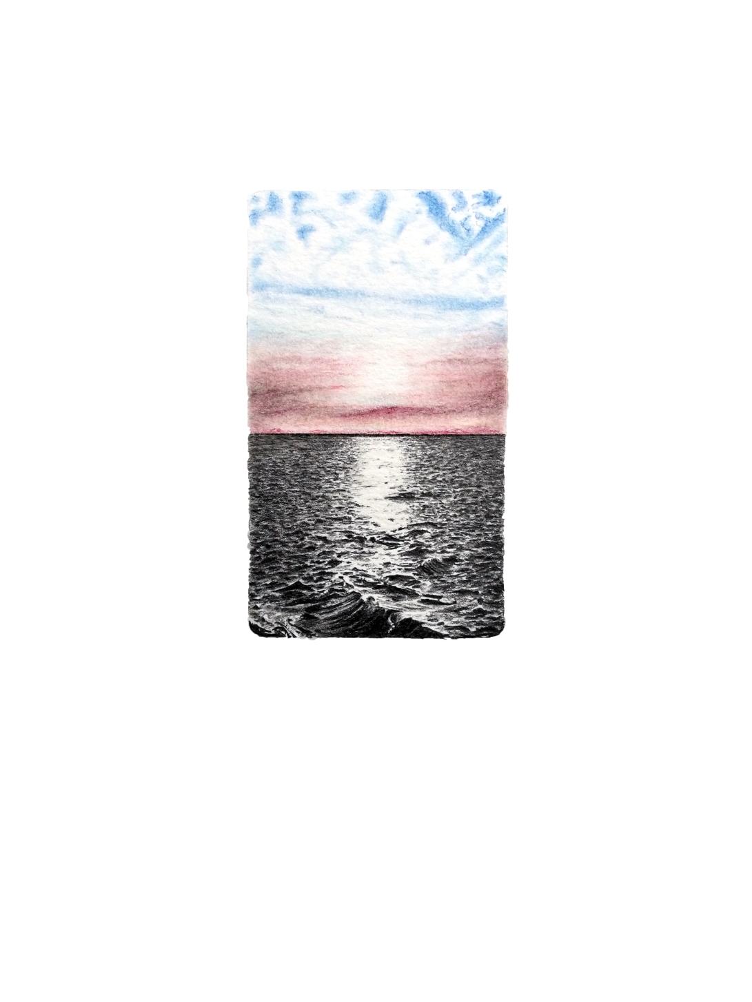 Sunrise, graphite and colour pencil on paper, 28cm x 21cm, 2018