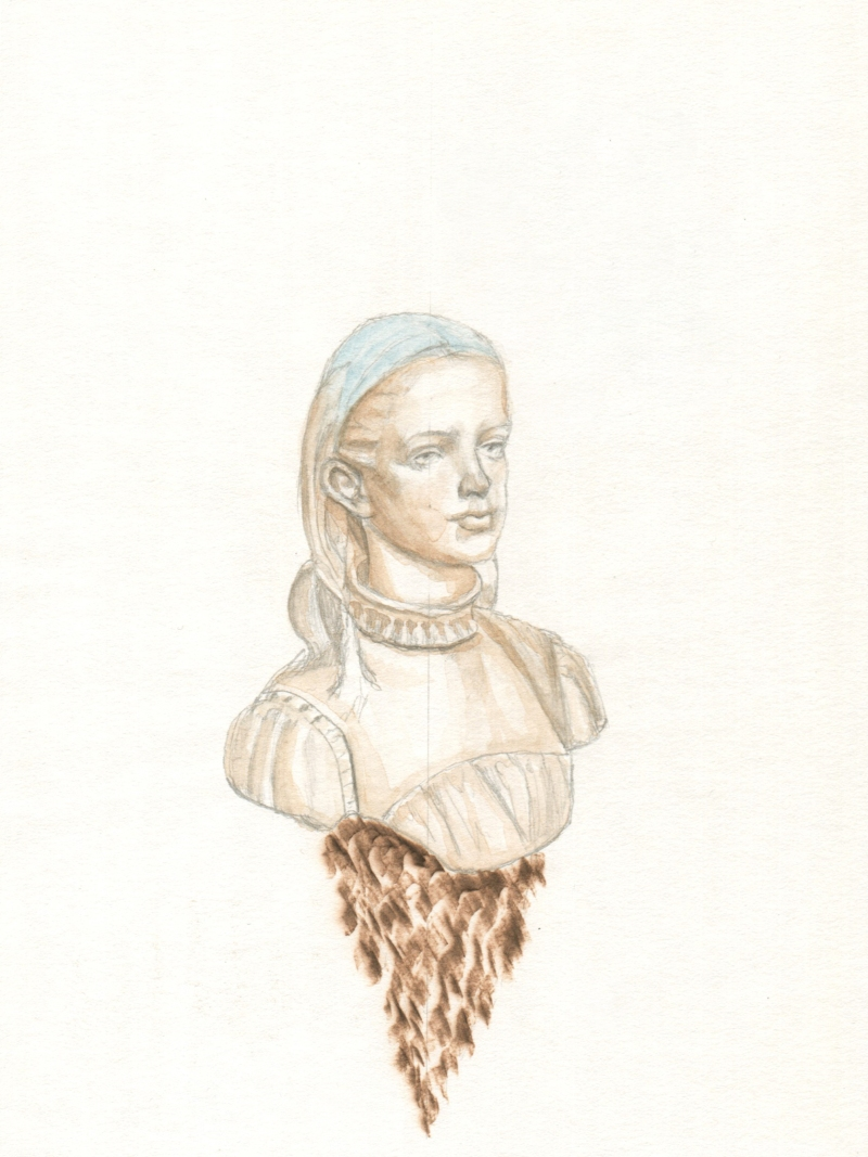 She Burned Hot and Cold, graphite, watercolour and pyrography on paper, 19.6cm x 14.6cm, 2018