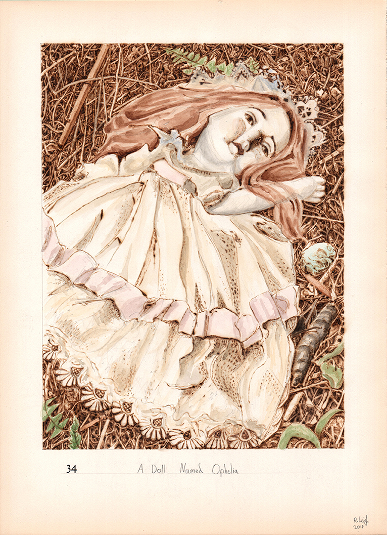 A Doll Named Ophelia, graphite, watercolour and pyrography on found paper, 37cm x 27cm, 2019