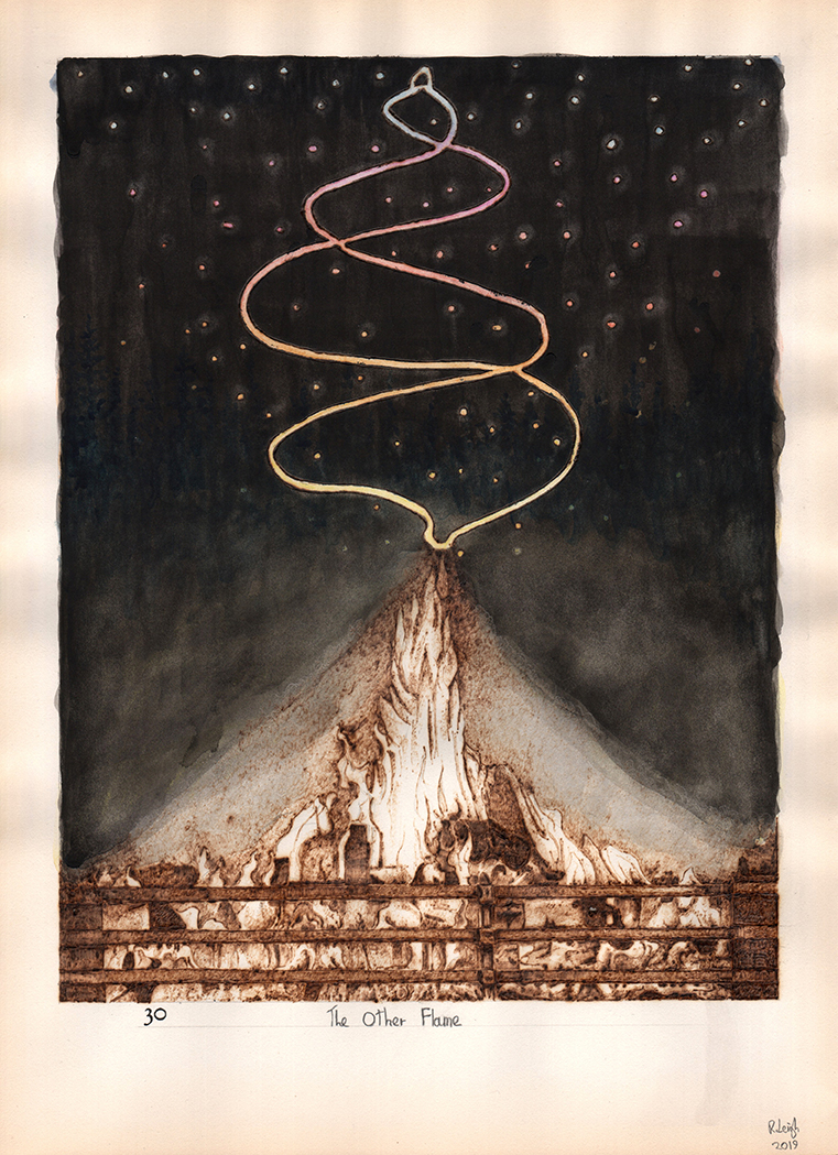 The Other Flame, graphite, aquarelle, watercolour and pyrography on found paper, 37cm x 27cm, 2019