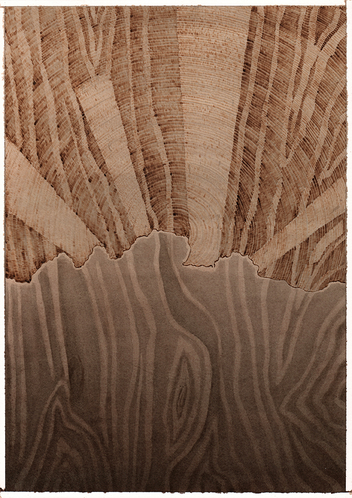 Dark Clouds & Light Rays, Graphite, watercolour and pyrography on paper, 35cm x 25cm, 2019