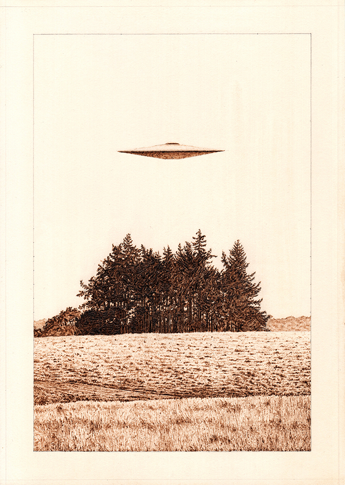 A UFo hovers eerily over a copse of trees in the English countryide.