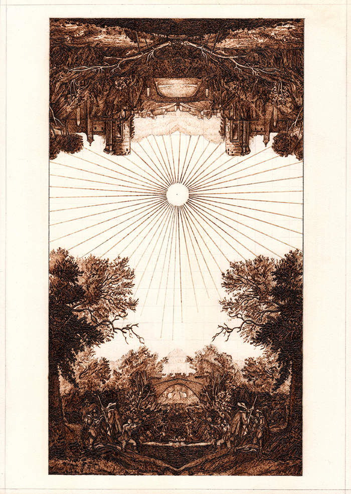 Brilliant sun and sun rays in centre of image. The landscape is split then mirrored horizontally. The pleroma, gnostic philosophy.