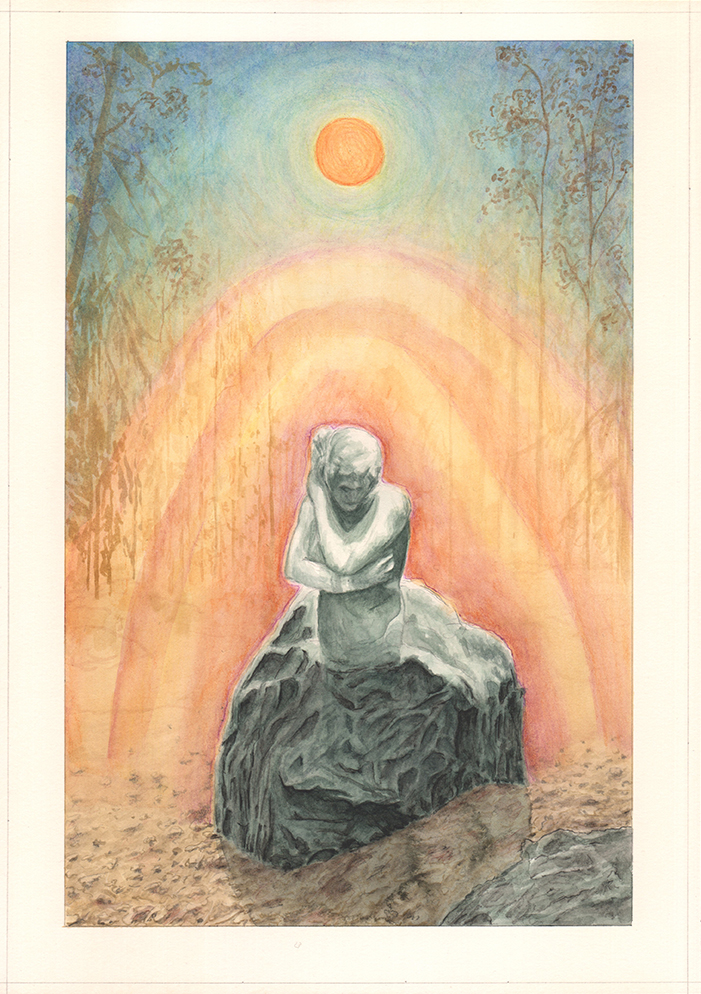 A woman emerging from a rock with mysterious light.